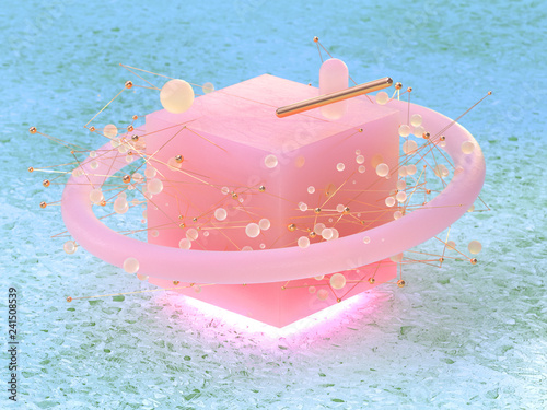 abstract pink cube shape circle sphere floating 3d rendering green marble floor