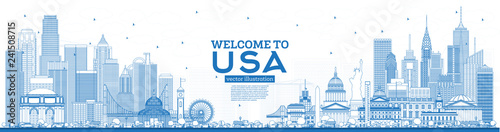 Outline Welcome to USA Skyline with Blue Buildings. Famous Landmarks in USA.