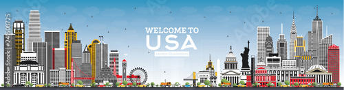 Welcome to USA Skyline with Gray Buildings and Blue Sky. Famous Landmarks in USA.
