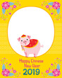 Happy Chinese New Year 2019 Border Decoration With Pig, Traditional, Celebration, China, Culture