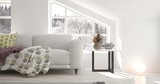 White room with sofa and winter landscape in window. Scandinavian interior design. 3D illustration - 241513770