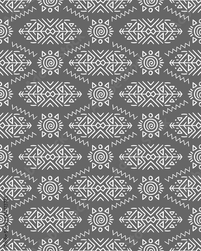 Vector Seamless Pattern in Ethnic Style. Creative tribal endless ornament, perfect for textile design, wrapping paper, wallpaper or site background. Trendy hand drawn boho tile. - 241513725