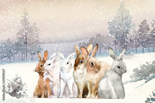 Wild rabbits in the winter snow painted by watercolor vector - 241518367