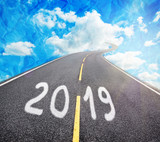 a road to new 2019 year, goals and resolutions consept - 241519747