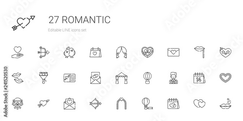romantic icons set