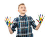 surprised boy with hands painted in colorful paints isolated on white