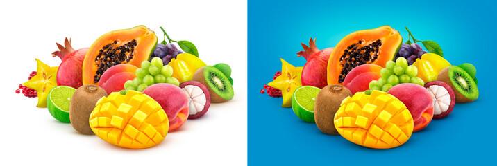Tropical fruits. Heap of fresh exotic fruits isolated on white background, papaya, mango, pomegranate, carambola, mangosteen, kiwi, peach, grap © xamtiw