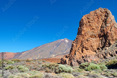 Volcanic landscape of the volcano Teide Valley on Tenerife Canary Islands Spain