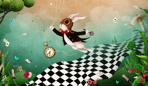 Leinwanddruck Bild Magical fantasy background Wonderland with  Rabbit and  chess road.