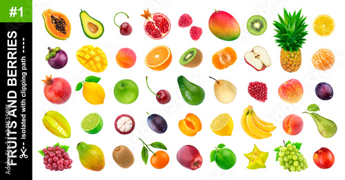 Foto Murales Tropical fruits. Collection of different exotic fruits and berries isolated on white background, pineapple, orange, apple, grape, avocado, mango, pear