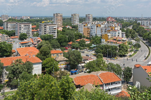 Panoramic cityscape of Plovdiv city from Nebet Tepe hill, Bulgaria
