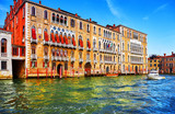 Venice, Italy. High-speed water motorboat floating by at Grand