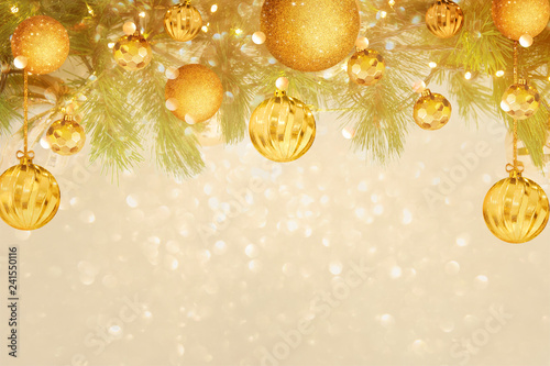 christmas frame design with golden ball and glitter background