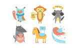 Cute animals with banners set, owl, raccoon, monkey, wolf, horse, bird holding signboards with text, design elelment for greeting card, print, poster, banner vector Illustration