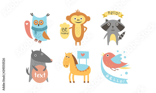 Poster Cute animals with banners set, owl, raccoon, monkey, wolf, horse, bird holding signboards with text, design elelment for greeting card, print, poster, banner vector Illustration