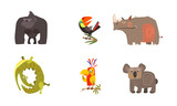 Cute cartoon African animals set, gorilla, toucan, rhino, crocodile, parrot, koala bear vector Illustration on a white background - 241551534