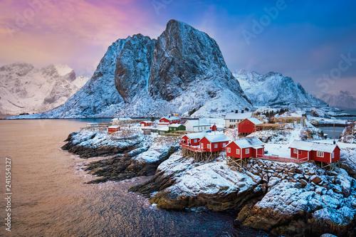 Leinwandbild Motiv Hamnoy fishing village on Lofoten Islands, Norway