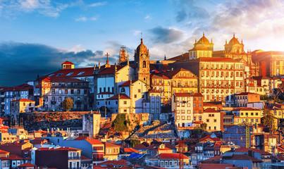 Porto, Portugal. Sunset above old portuguese town scenic sky
