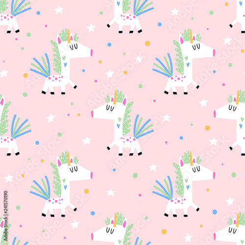 Seamless background with funny unicorns