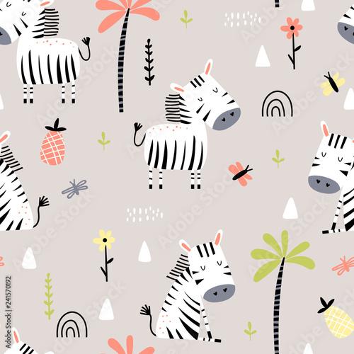 obraz lub plakat Cartoon seamless pattern with zebras