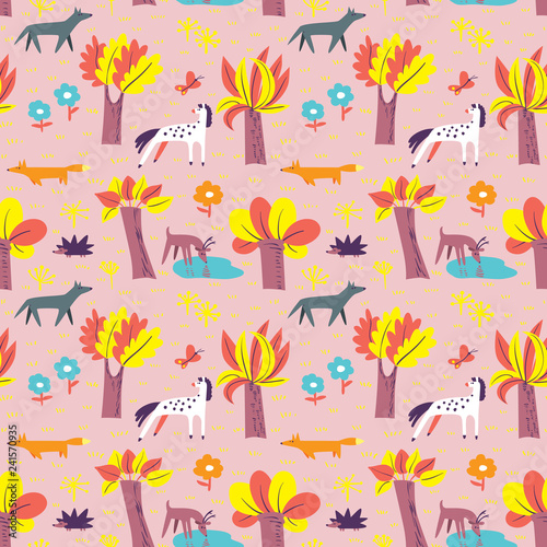 obraz PCV Seamless pattern with forest inhabitants. Background with wild animals and tree