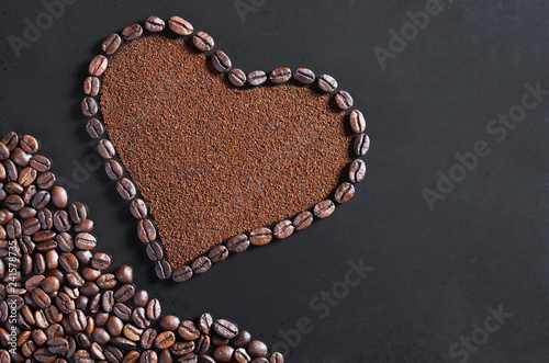 Ground coffee and beans in the shape of a heart - 241578735
