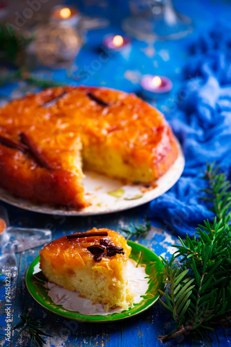 Tangerine upside-down cake.selective focus - 241582343