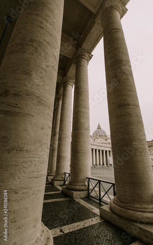 Colonnade on Saint Peter square in Vatican