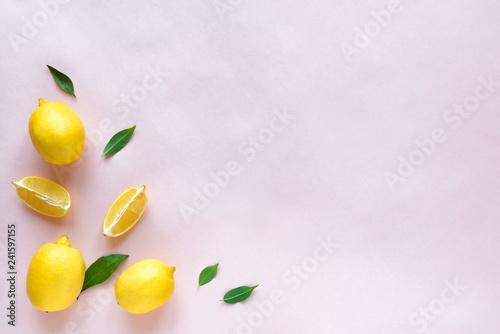Lemons on pink - 241597155