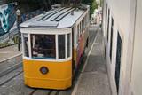 Old tram in Alfama district of Lisboa