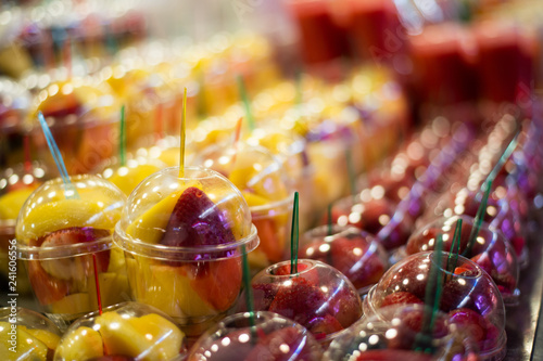 Fruit mix served in plastic cups - 241606556