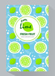 Vertical banners with sliced lime pieces, leaves . Template for design  juice, lemonade, cosmetic, natural medicine, herbal tea, food menu. Vector illustration. - 241617726