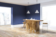 Blue and white kitchen corner with bar