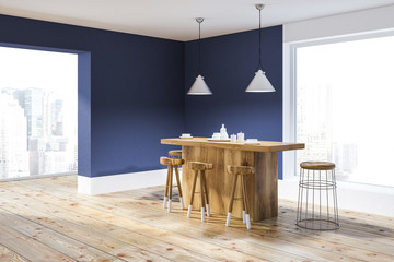 Blue and white kitchen corner with bar © denisismagilov