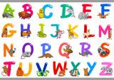 Cartoon Alphabet with Animal Characters - 241637599