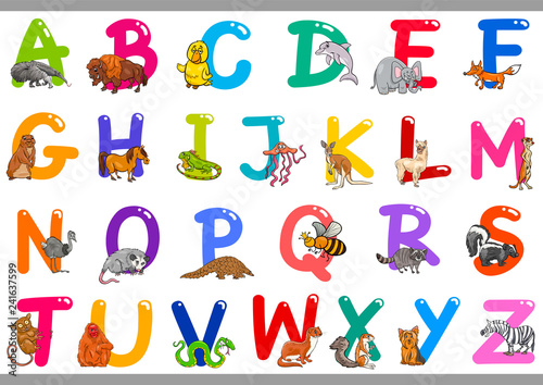 obraz PCV Cartoon Alphabet with Animal Characters