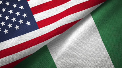 Nigeria and United States two flags textile cloth fabric texture
