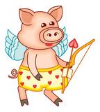 Cute cartoon Cupid pig