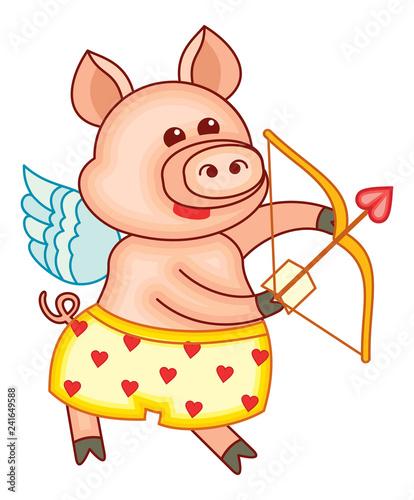 Cute cartoon Cupid pig  - 241649588