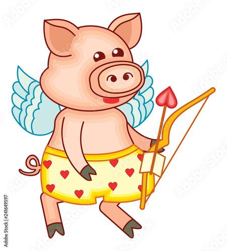 Cute cartoon Cupid pig  - 241649597