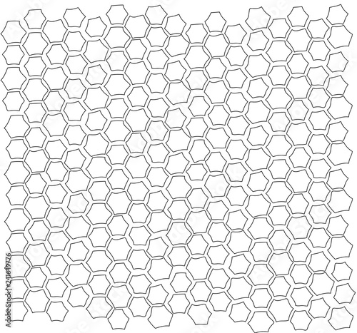 Vector isolated line pattern of a brick tile wall hexagon - 241649776