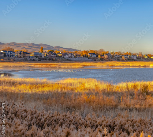 View of Utah Lake and lakeside homes nearby