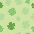 Seamless Pattern Four Leaf Clover Green Background