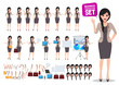 Woman business character vector set. Female office worker  standing with various poses and hand gestures for business presentation. Vector illustration.
