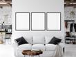 Frame mockup. Living room interior wall mockup. Wall art. 3d rendering, 3d illustration.