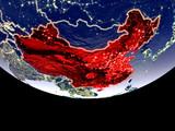 Satellite view of China from space at night. Beautifully detailed plastic planet surface with visible city lights. - 241667953