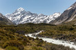 Looking up the Hooker Valley to Mount Cook with the Hooker River in the foreground. Aoraki/Mount Cook National Park, New Zealand.