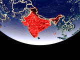 Satellite view of India from space at night. Beautifully detailed plastic planet surface with visible city lights.