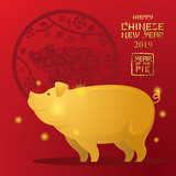 Gold Pig Character, Chinese New Year 2019, Red Background - 241672304