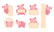 Pig Cartoon Character Holding Sign Set, Cute Vector Illustration with Copy Space - 241672902